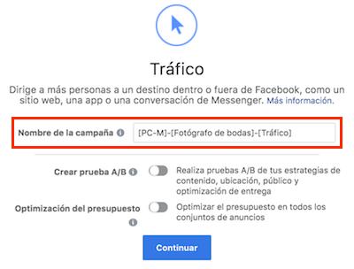 nombrar campanas facebook ads